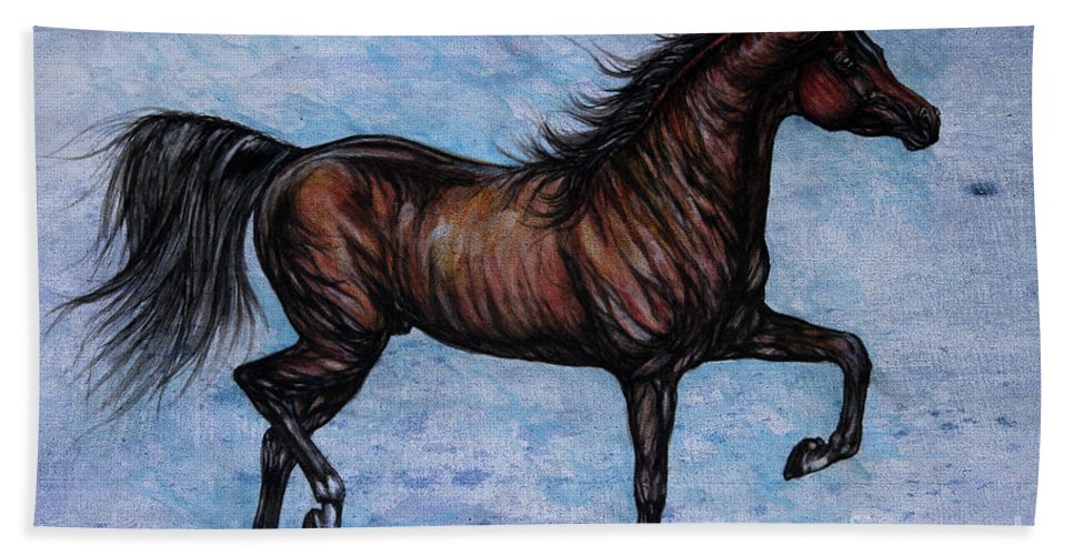 Horse Beach Towel featuring the painting Running In The Blue by Angel Ciesniarska