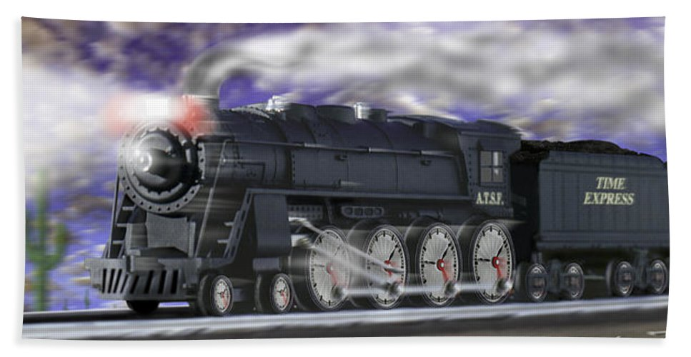 Railroad Beach Towel featuring the photograph Running On Time Panoramic by Mike McGlothlen