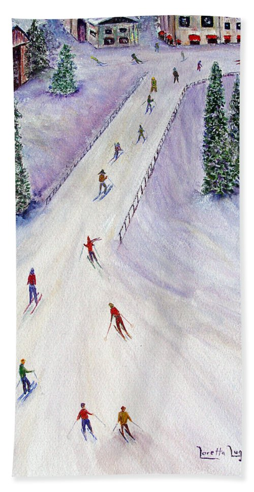 Snow Beach Towel featuring the painting Rush Hour by Loretta Luglio