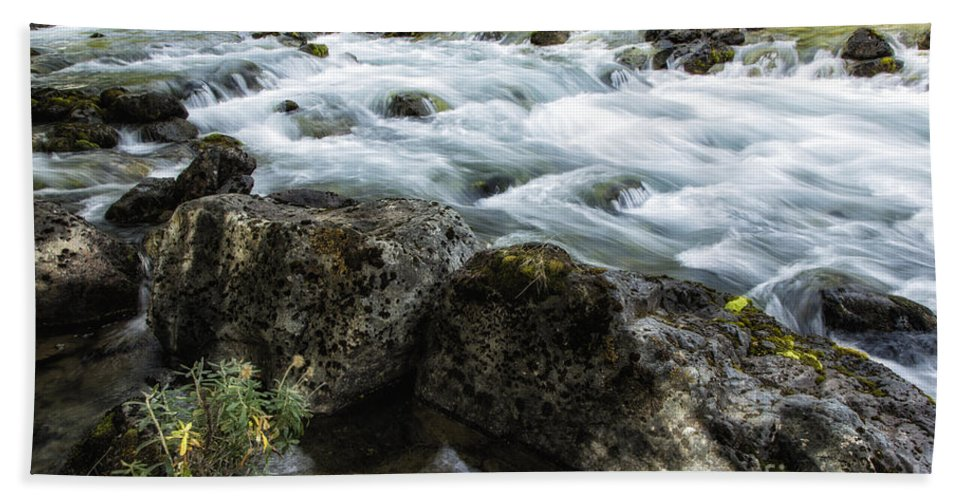 Patagonia Beach Towel featuring the photograph Rushing Stream by Timothy Hacker