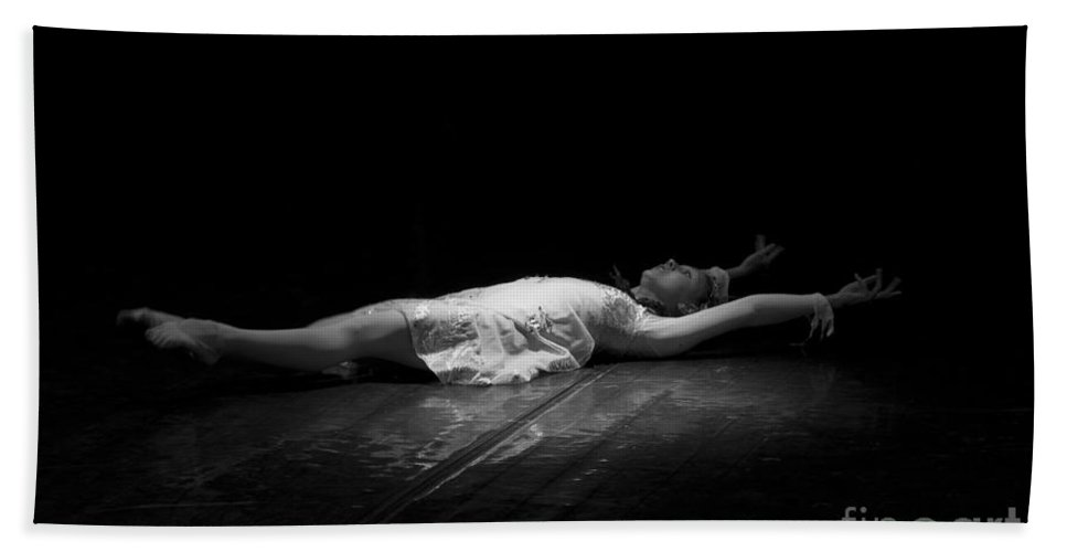 Ballerina Beach Towel featuring the photograph Russian Ballerina As A Melting Snowflake. by Clare Bambers