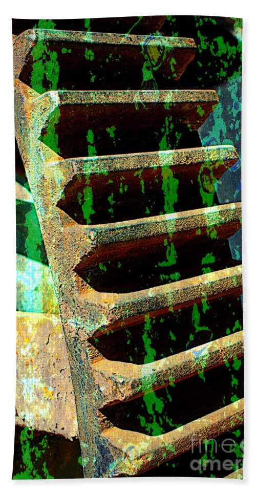 Rust Beach Towel featuring the photograph Rusted Gears Abstract by Carol Groenen