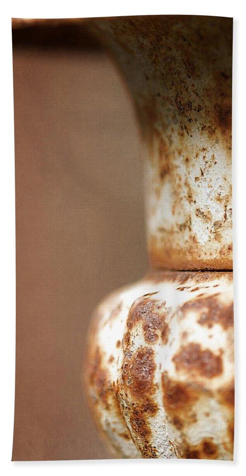 Lisa Knechtel Beach Towel featuring the photograph Rusted Urn by Lisa Knechtel