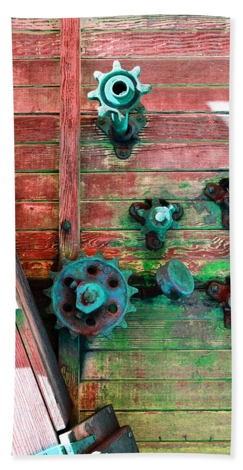 Rusted Beach Towel featuring the photograph Rusted Valves by Holly Blunkall