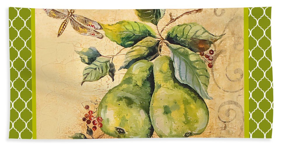 Acrylic Painting Beach Towel featuring the painting Rustic Pears On Moroccan by Jean Plout