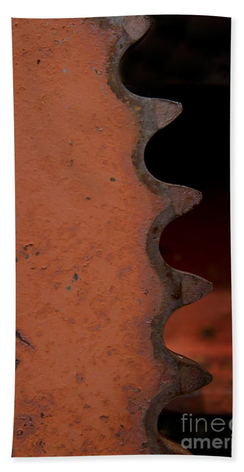 Gear Beach Towel featuring the photograph Rusting Orange Gear  #0007 by J L Woody Wooden