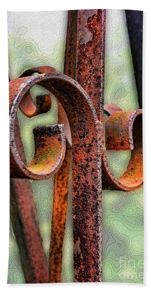Still Life Beach Towel featuring the photograph Rusty Curls by Debbie Portwood