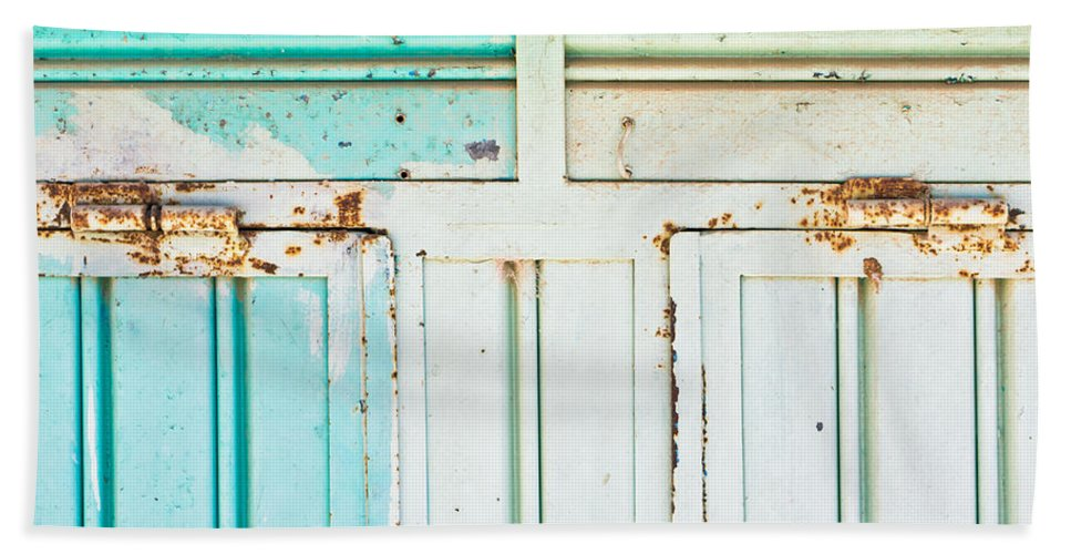 Abstract Beach Towel featuring the photograph Rusty Hinges by Tom Gowanlock