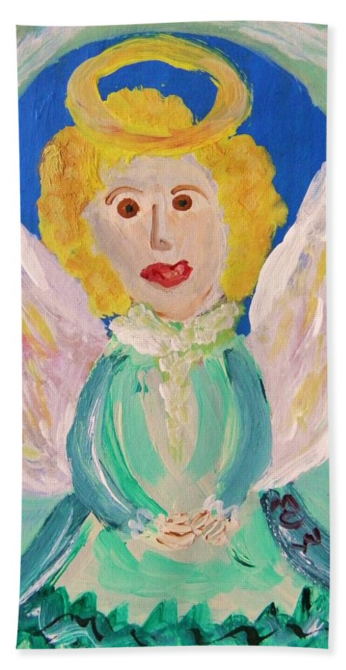 Acrylic Beach Towel featuring the painting Ruth E. Angel by Mary Carol Williams