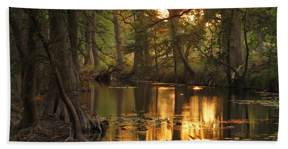 Sabinal River Beach Towel featuring the photograph Sabinal Sunset by Andrew McInnes
