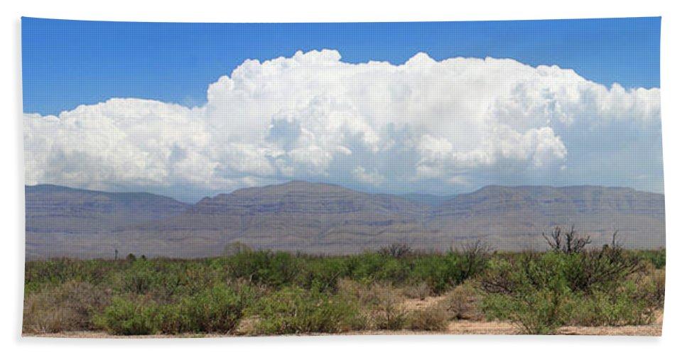 Panoramic View Of Sacramento Mountains Beach Towel featuring the photograph Sacramento Mountains Storm Clouds by Jack Pumphrey