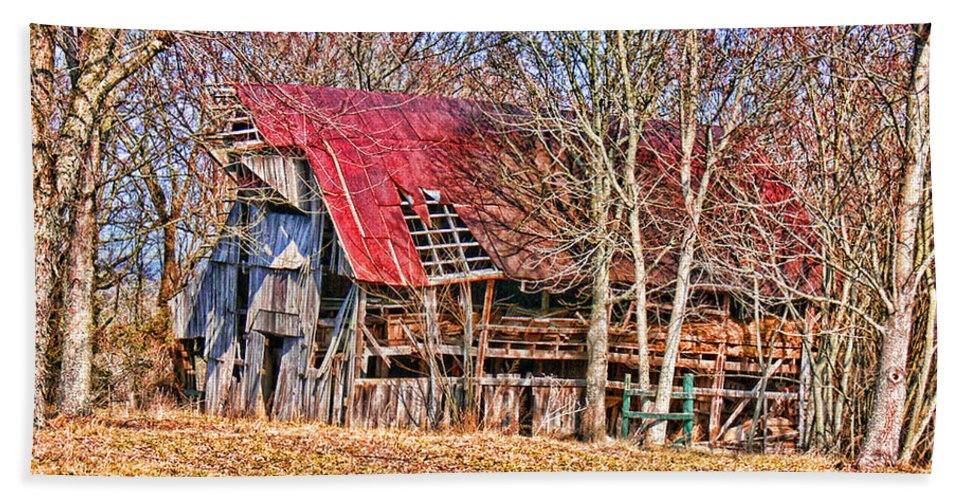Barn Beach Towel featuring the photograph Sad Barn - Featured In 'old Buildings And Ruins' by Ericamaxine Price