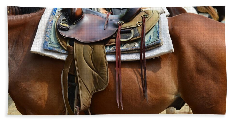 Partner Beach Towel featuring the photograph Saddle Up Partner by Frozen in Time Fine Art Photography