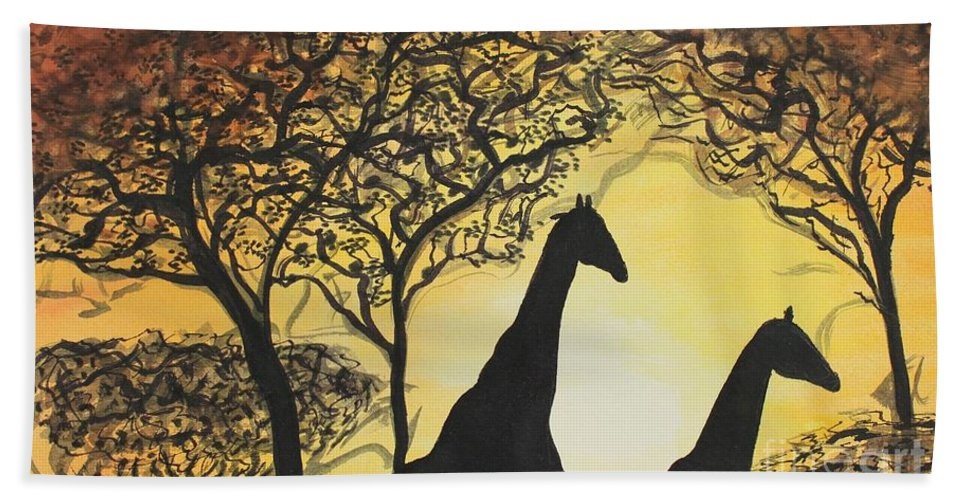 Giraffe Beach Towel featuring the painting Safari by Shannan Peters