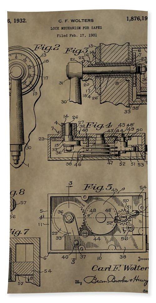 safe lock patent beach towel featuring the mixed media safe lock patent by  dan sproul