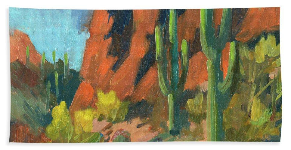 Saguaro Cactus Beach Sheet featuring the painting Saguaro Cactus 1 by Diane McClary