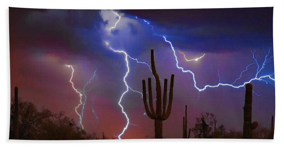 Saguaro Beach Towel featuring the photograph Saguaro Lightning Nature Fine Art Photograph by James BO Insogna