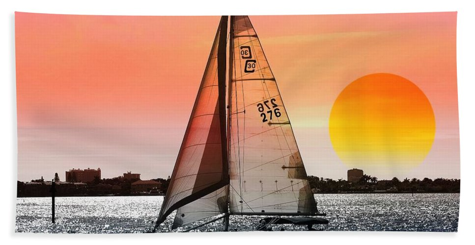 Boat Beach Towel featuring the photograph Sail away with me by Athala Bruckner