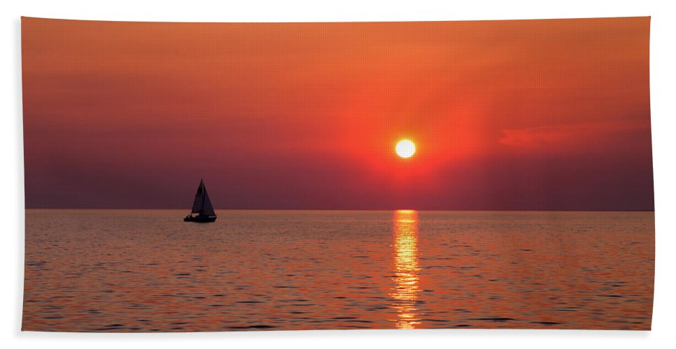 Sunset Beach Towel featuring the photograph Sail Away With Me by Brian Boudreau
