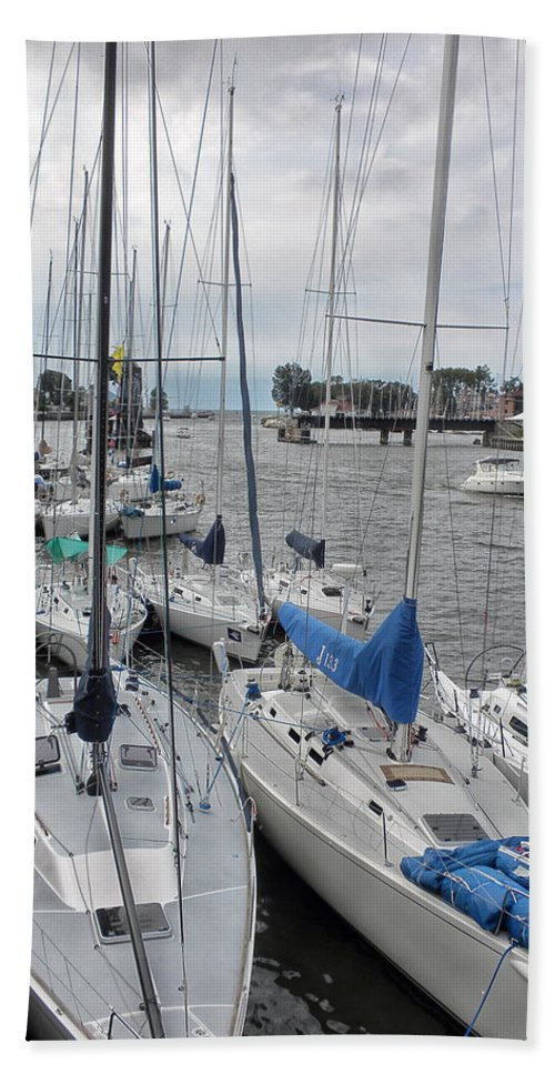 Sailboat Beach Towel featuring the photograph Sail Boats Docked For The Night by Thomas Woolworth