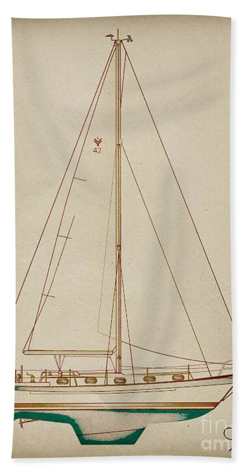 Regina Gallant Beach Towel featuring the drawing Sailboat 42 by Regina Marie Gallant
