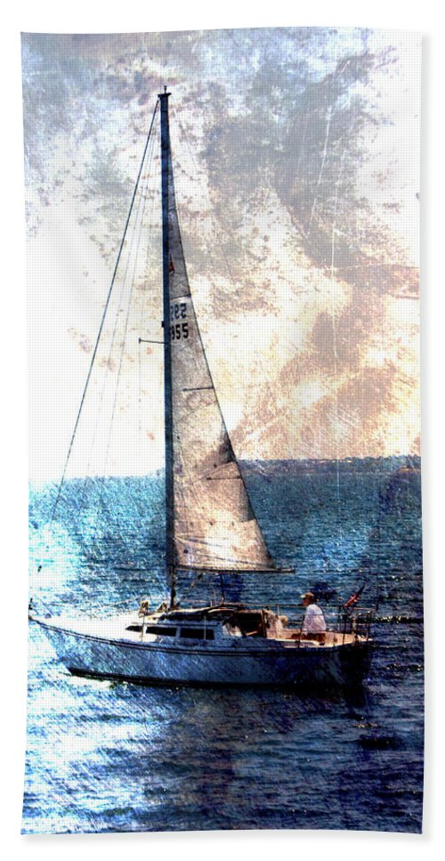 Lake Michigan Beach Towel featuring the digital art Sailboat Light W Metal by Anita Burgermeister