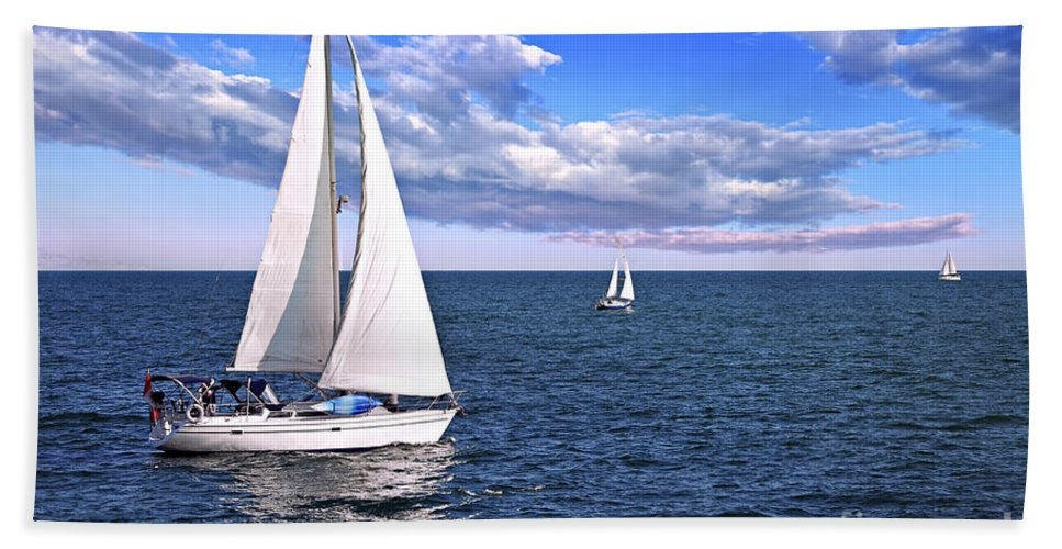 Boat Beach Towel featuring the photograph Sailboats At Sea by Elena Elisseeva