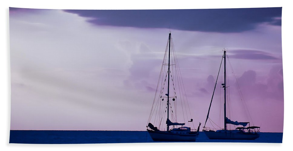 Sailboats Beach Towel featuring the photograph Sailboats At Sunset by Don Schwartz