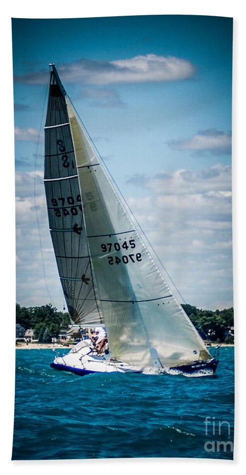 Sailboat Beach Towel featuring the photograph Sailing 97045 by Ronald Grogan