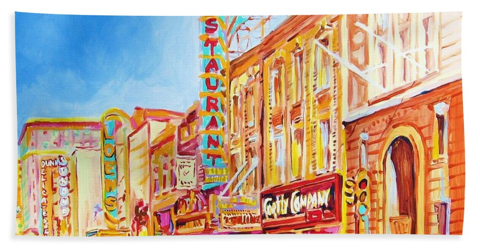 Paintings Of Montreal Beach Sheet featuring the painting Saint Catherine Street Montreal by Carole Spandau