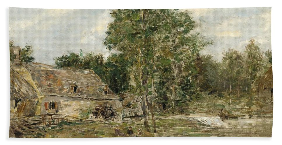 Impressionist; Landscape; Rural; Countryside; France; French; En Plein Air; Plein Air; St. Cenery; Saint Cenery; Saint-cenery; Mill; Moulin; Rustic; Dilapidated; Rundown; Yard; Sketch; Water; Babbling Brook; Brook; Flowing; People; Oil; Oil Painting; Boudin; Tree; Trees; Nature; Natural; Wheel; Milling; Picnic; Relax; Relaxing; Somber; Dull; Grey; Gray; Melancholy; Leaves Beach Towel featuring the painting Saint-cenery The Mill by Eugene Louis Boudin