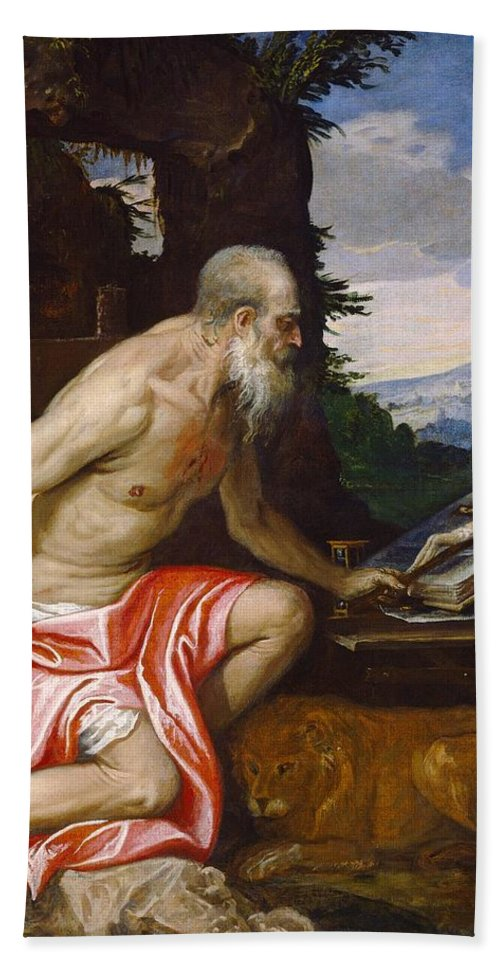 1580 Beach Towel featuring the painting Saint Jerome In The Wilderness by Paolo Veronese