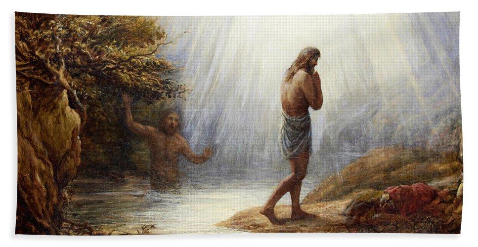 John Linnell Beach Towel featuring the painting Saint John The Baptist by John Linnell