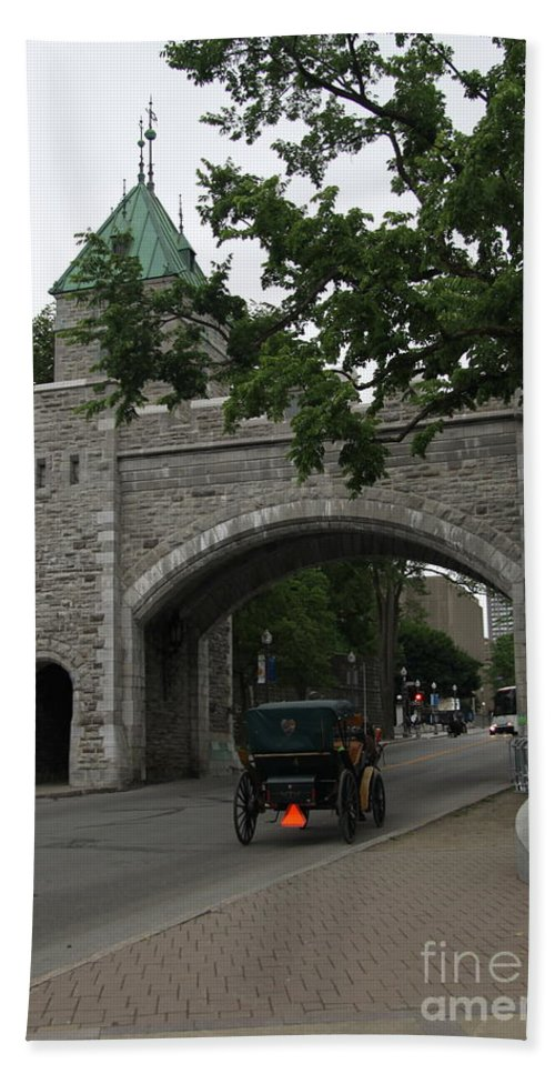 Ramparts Beach Towel featuring the photograph Saint Louis Gate In Ramparts Of Quebec City by Christiane Schulze Art And Photography