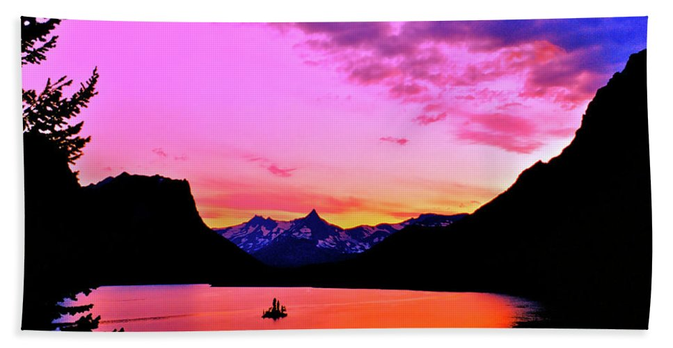 Mountains Beach Towel featuring the photograph Saint Mary Lake Twilight by Ed Riche