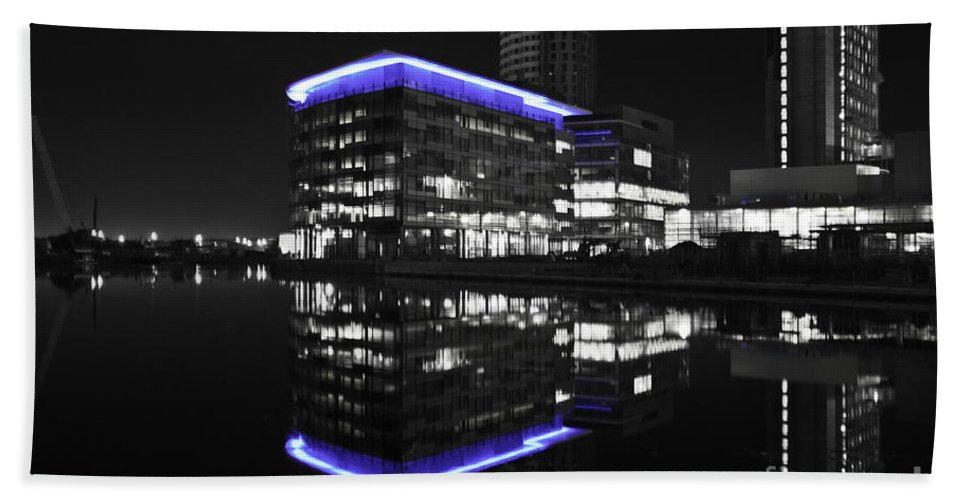 Reflections Beach Towel featuring the photograph Salford Quay Reflection by James Lavott