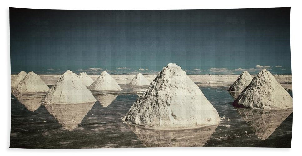 Harvest Beach Towel featuring the photograph Salt Harvest Uyuni Bolivia Vintage by For Ninety One Days
