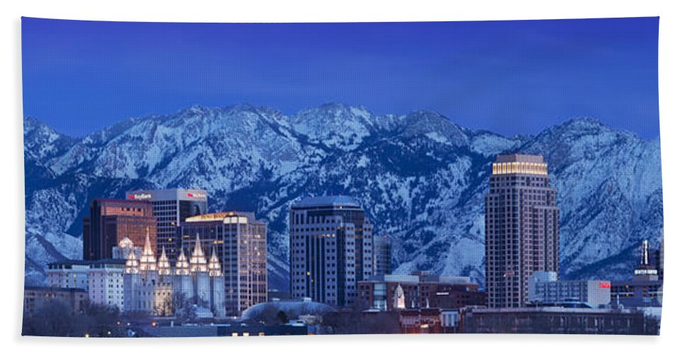 America Beach Towel featuring the photograph Salt Lake City Skyline by Brian Jannsen