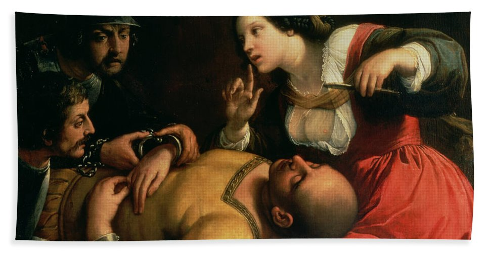 Bald Beach Sheet Featuring The Photograph Samson And Delilah By Michelangelo Caravaggio
