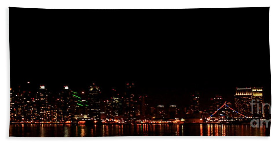 San Diego Beach Towel featuring the photograph San Diego Night Skyline by Tommy Anderson