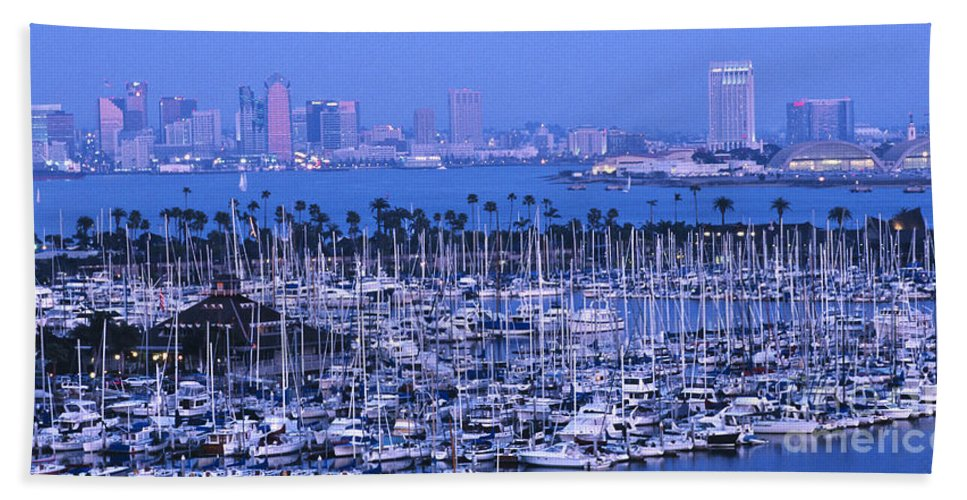 Panoramic Beach Towel featuring the photograph San Diego Twilight by Sandra Bronstein