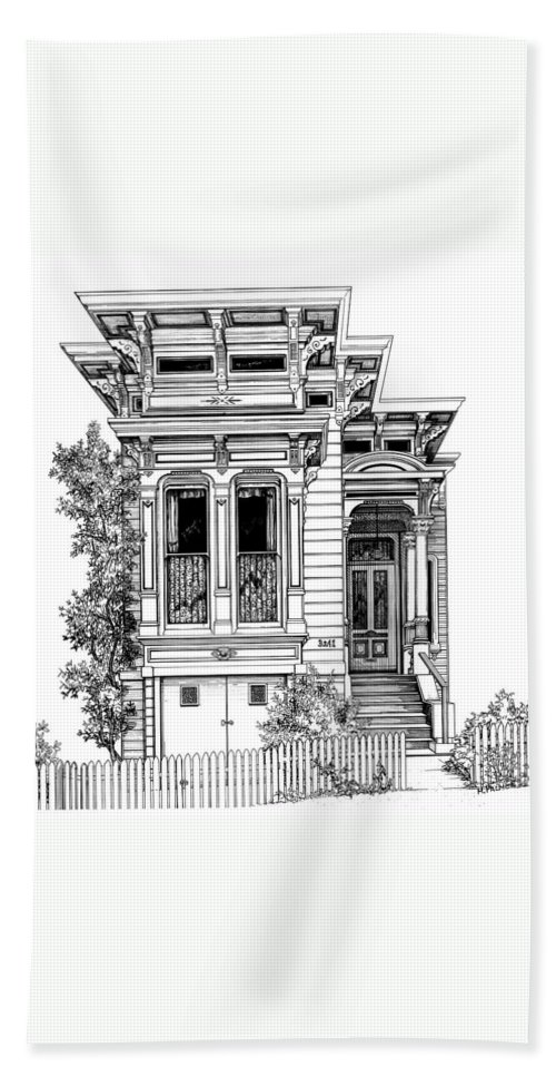 Pen And Ink Beach Towel featuring the drawing San Fracisco Victorian2 by Mary Palmer