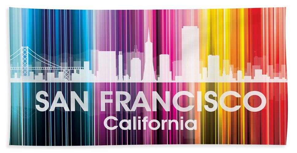 Sanfrancisco Beach Towel featuring the mixed media San Francisco Ca 2 by Angelina Vick