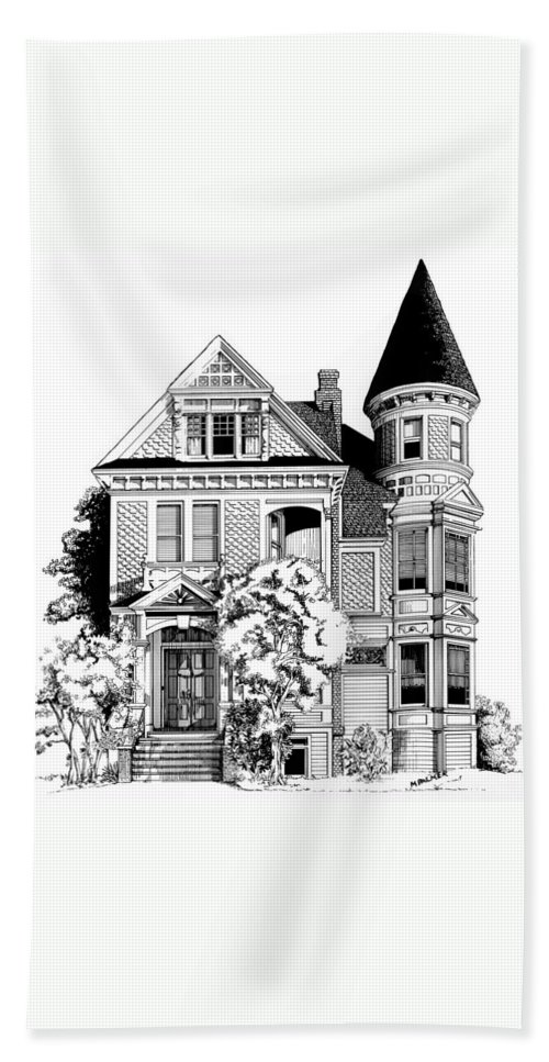 Pen And Ink Beach Towel featuring the drawing San Francisco Victorian by Mary Palmer