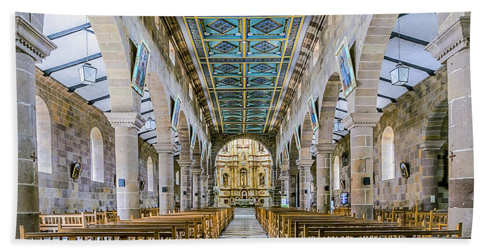 Aisle Beach Towel featuring the photograph San Gil Cathedral by Maria Coulson