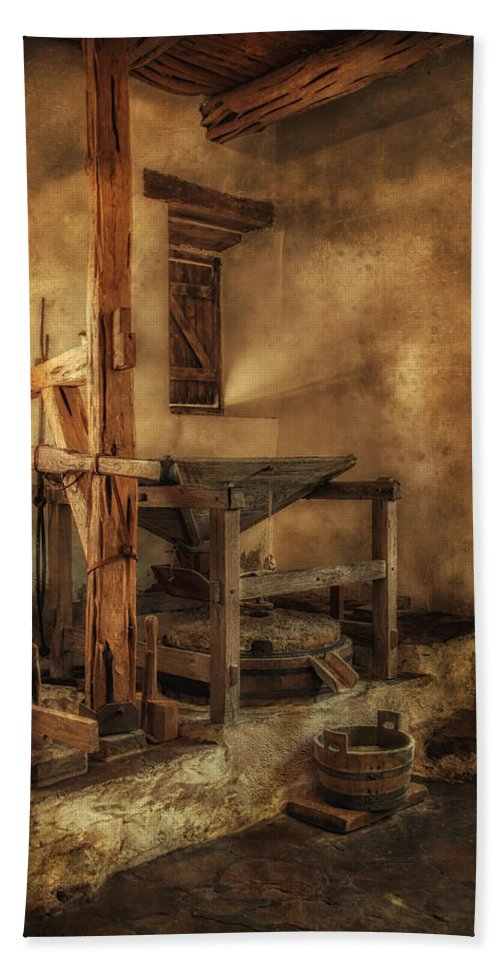 Mill Beach Towel featuring the photograph San Jose Mission Mill by Priscilla Burgers