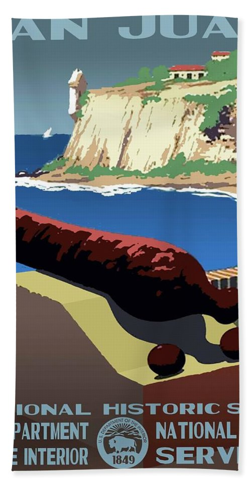 Vintage Beach Towel featuring the photograph San Juan National Historic Site Vintage Poster by Eric Glaser