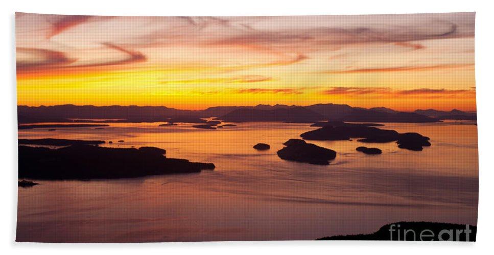 San Juans Beach Towel featuring the photograph San Juans Sunset by Mike Reid