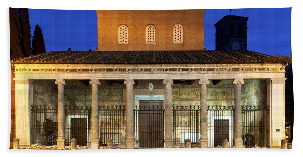 Papal Beach Towel featuring the photograph San Lorenzo Fuori Le Mura by Fabrizio Troiani
