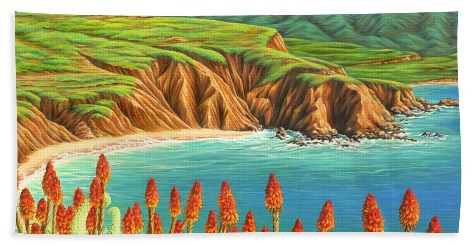 Ocean Beach Towel featuring the painting San Mateo Springtime by Jane Girardot